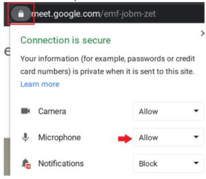 screenshot - Click padlock to allow microphone