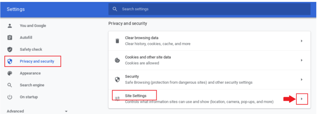 Screenshot - Privacy and Security, Site settings